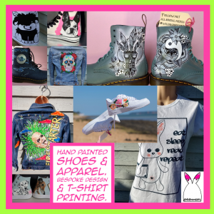 Collage image showing a selection of WildBunnyArts' products. Some text saying