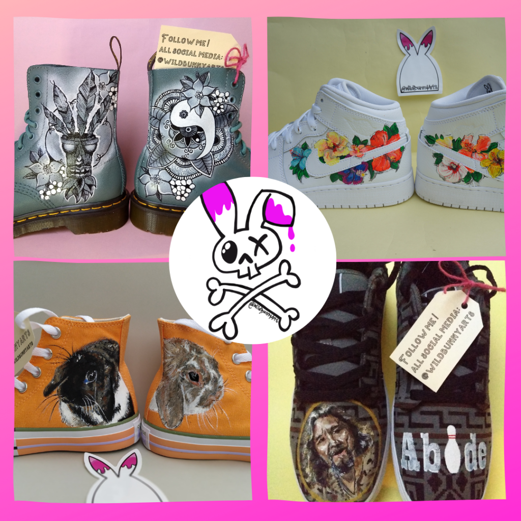 pictures of painted dr martens, painted, nikes, painted converse and the wild bunny logo