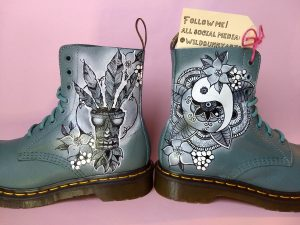 henna design hand painted doc martens