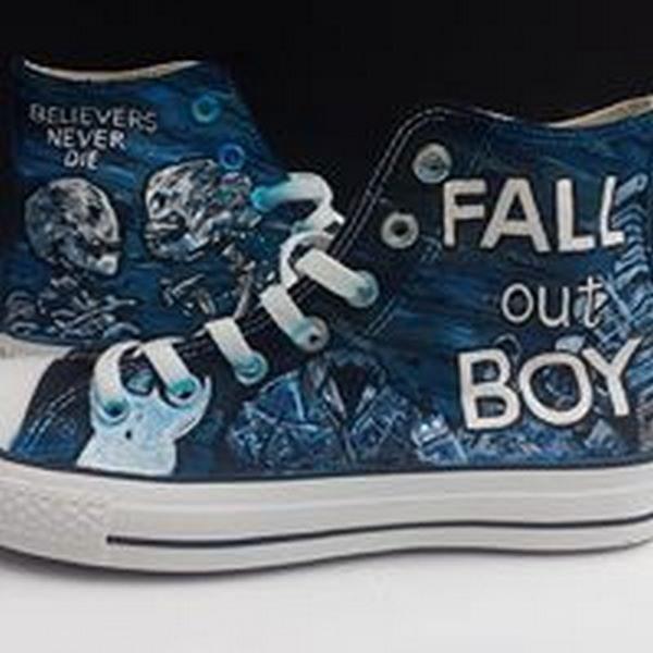 fall out boy design hi top black converse
