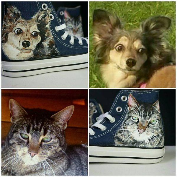 pet portrait shoes showing the design against the original pictures
