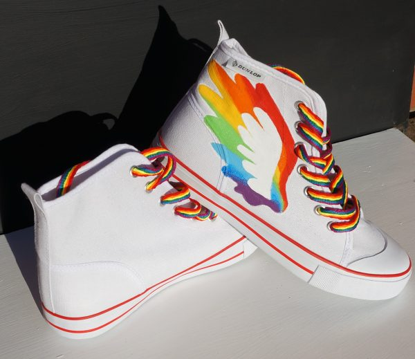 rainbow wings white hi tops