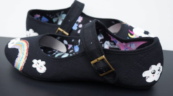 Kawaii design black mary jane shoes with unicorn, rainbow cloud design