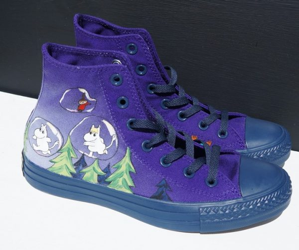 indogo hi rise converse with childrens book characters in bubbles over a forest