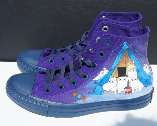 indigo high rise converse with childrens picture book characters