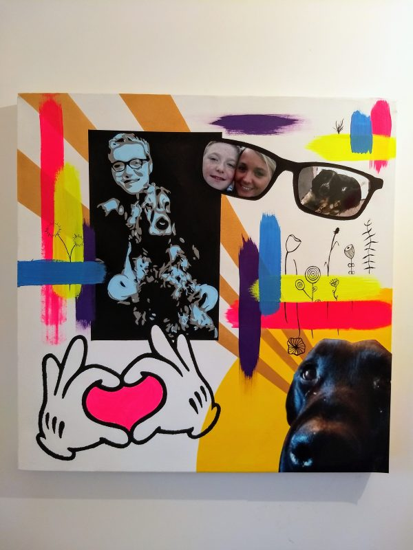 brightly coloured picture featuting many elements. There is a picture of a boy and a dog, a mum and boy in some glasses, a pair of cartoon gloves and a pink heart in the middle, a picture of a dog