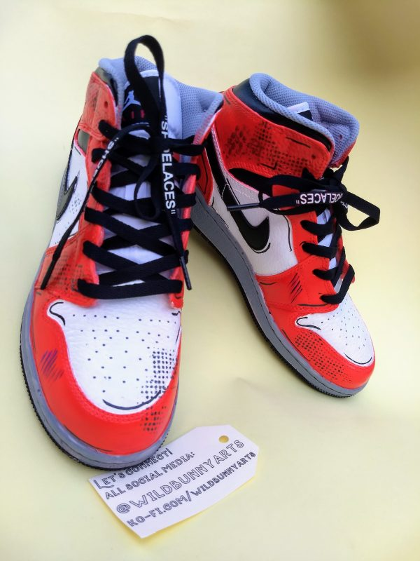 picture of some nike ai jordans painted to look like mike morales shoes