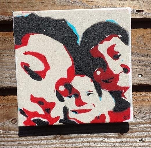 stencil canvas of three boys