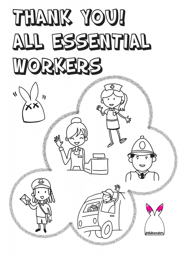 words: thank you all key workers and some simple illustrations of key workers